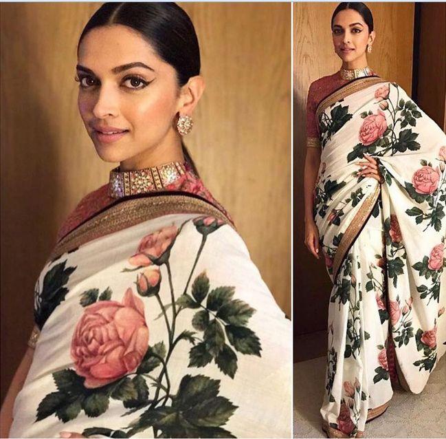 Deepika Padukone In A n embroidered Sari.For This Sari Mail Us At contact@ladyselection.com