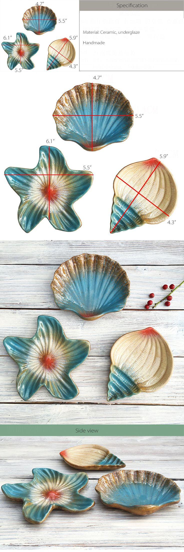 White beach print home decor fabric decorative seashell bty ebay - Seashell Ceramic Dishes