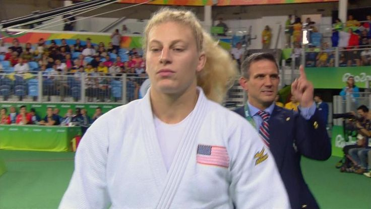 VIDEO  Kayla Harrison clinches Olympic medal with armbar submission   -   Reigning Olympic champion Kayla Harrison won her semifinal match against Slovenia's Anamari Velensek to guarantee herself a medal in women's 78kg judo. Harrison forced her opponent to tap out after applying an armbar.  -  August 11, 2016