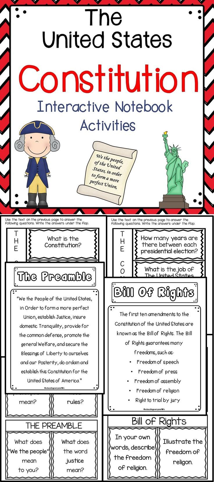 Classroom Ideas and Classroom Resources - The Constitution - Teach your students all about the United States Constitution with these fun and engaging interactive notebook activities.