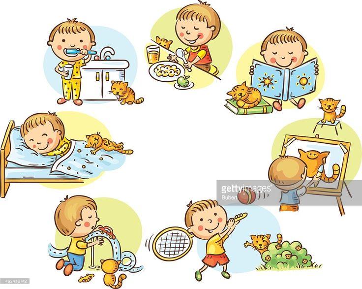 Clipart vectoriel : Petit garçon les activités quotidiennes