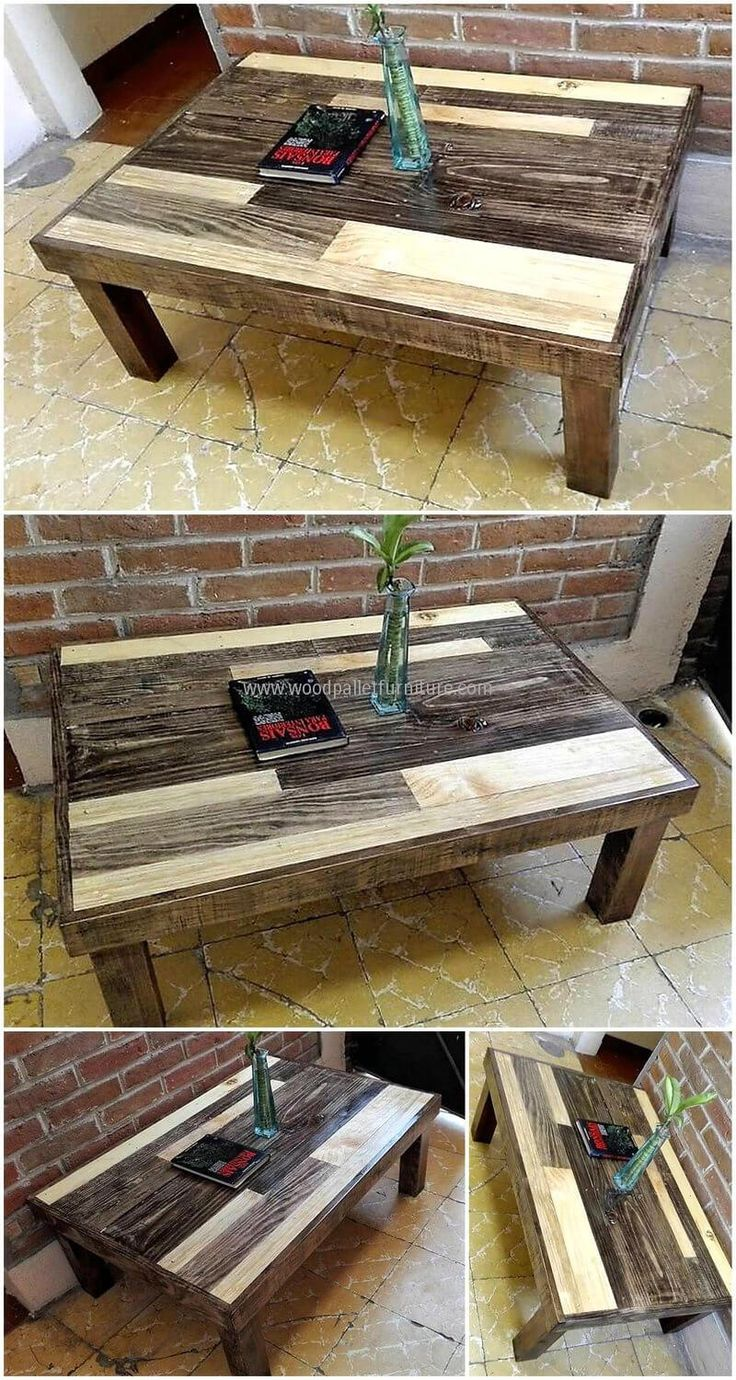 repurposed wooden pallets made table