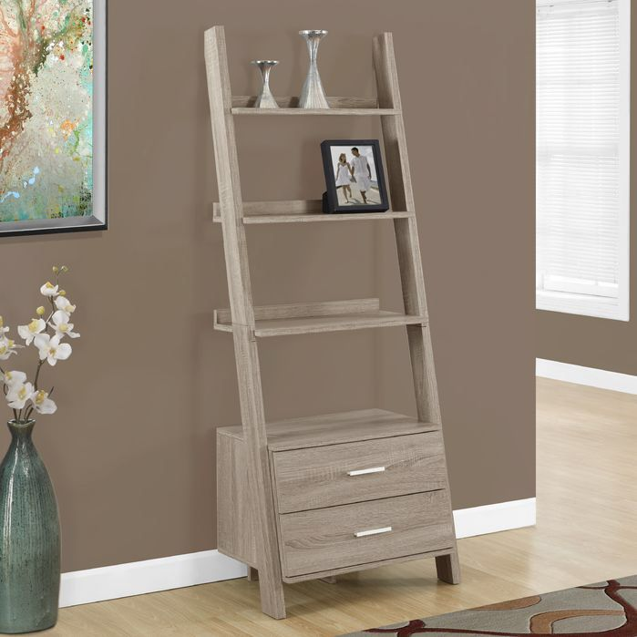 Features:  -Sleek and sturdy design.  -Two storage drawers with silver toned handles.  Product Type: -Leaning.  Style: -Contemporary.  Frame Material: -Wood.  Shelving Included: -Yes.  Drawers Include