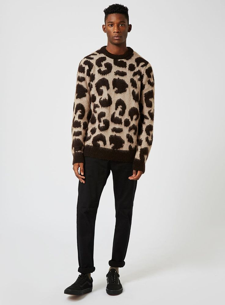Stone and Black Leopard Design Sweater - Men's Cardigans & Sweaters - Clothing - TOPMAN USA