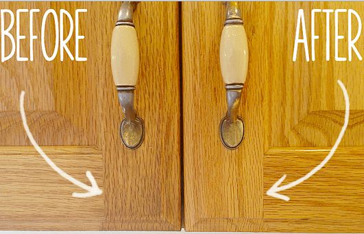 Secret to cleaning Gunky Kitchen Cabinets  Just mix together 1 part vegetable oil with 2 parts baking soda. Mix ingredients together with a spoon. Then, use a sponge, an old toothbrush or your hands to work the cleaner into the cabinet doors.