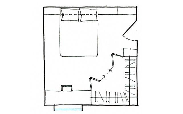 Progetto cabina armadio: ad angolo se ti serve una zona studio comoda