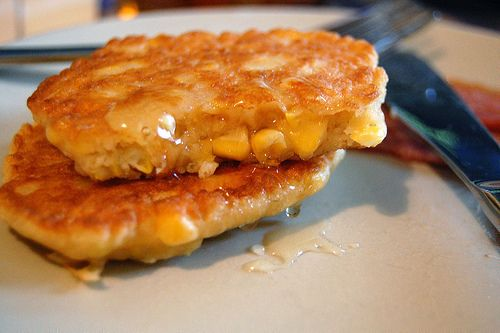 Bisquick Corn Fritters Recipe ♥ 1 can cream corn ♥1/2 cup frozen corn, thawed (optional) ♥1 egg ♥1 1/2 cup Bisquick ★Mix all ingredients in a bowl and fry like a pancake