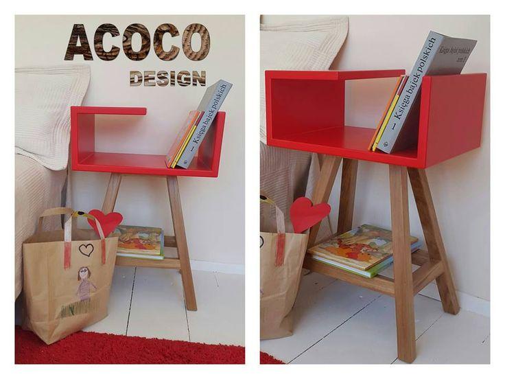 Czerwony stolik nocny w skandynawskim stylu #meble #stolik #table #acoco