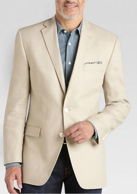 04c2f07689e Classic and regular fit 2 Button Linen sport coat for men available in tan  color.