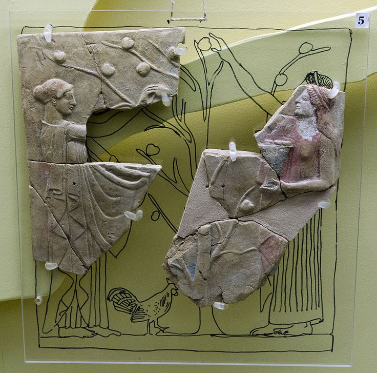 Fruit-picking: Locrian pinax Type 4/1 Zancani-MontuoroFirst half of the 5th c. BCE From the sanctuary of Persephone at Locri, loc. Mannella. Museo Archeologico Nazionale di Locri Epizefiri