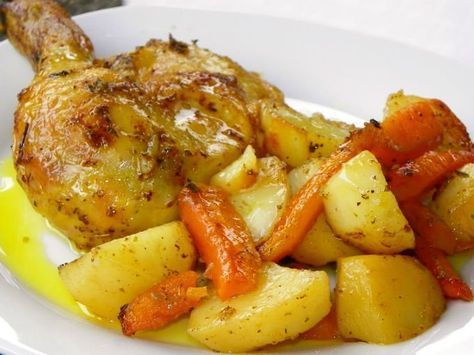 Pollo con papas y zanahoria