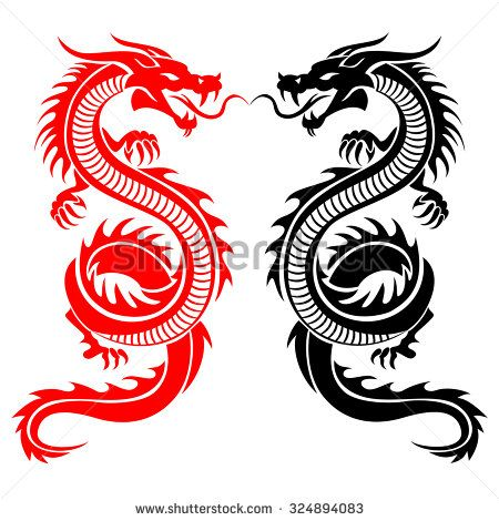 Black and red tribal dragon tattoo vector illustration - stock vector