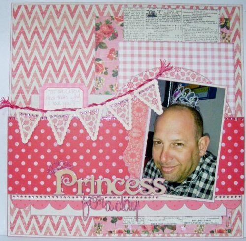 Princess for a Day - Scrapbook layout - Kaisercraft Tropical Punch collection - A2Z Scraplets chipboard ~Karyn Watton