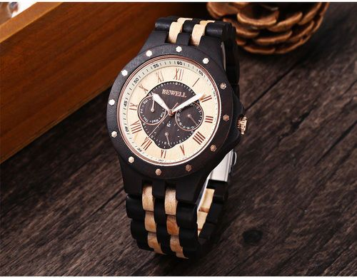 Mens-Style-Wood-Watch-Round-Quartz-Date-Display-Wooden-strap-For-Men