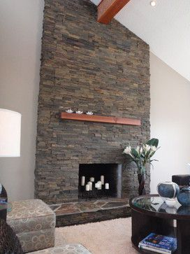 Stacked Slate Fireplace Surround | Stacked Stone Fireplace Design Ideas, Pictures, Remodel, and Decor