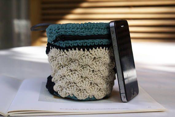 Crochet Zipper Pouch with Lining Crochet Wallet Accessory