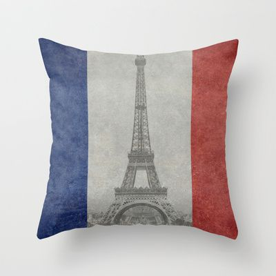 Distressed National Flag of France with Eiffel Tower insert Throw Pillow by Bruce Stanfield - $20.00