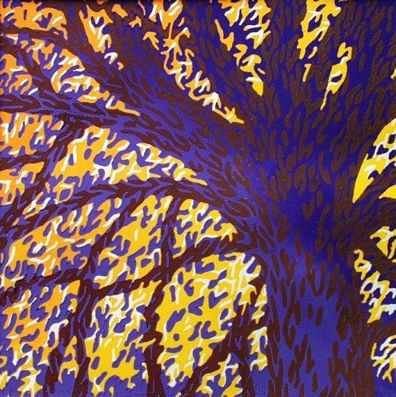 Handmade Linocut Art Print, Purple Tree, by Eveline van der Eijk