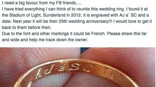ITV Tyne Tees -  A woman is appealing to the public to help her trace the owners of a wedding ring, ahead of its 25th year anniversary.  31-year-old Clare Owen from Coxhoe, County Durham, discovered the ring on her way home from a Sunderland v Norwich football match at the Stadium of Light on the 1st February 2012.