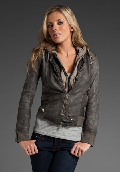 SWORD Avio Hooded Leather Jacket in Grey at Revolve Clothing - Free Shipping! - StyleSays