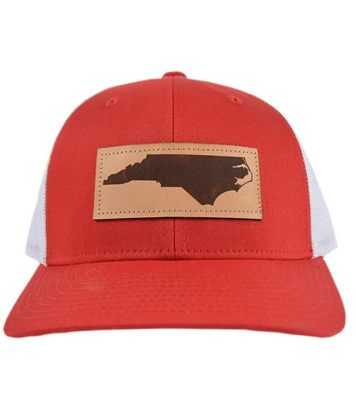 North Carolina Outline Leather Patch Hat -Red/White