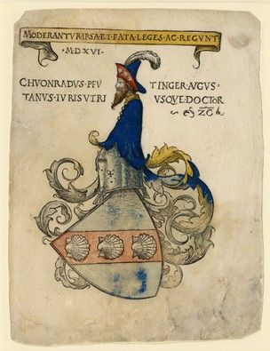 Bookplate with the coat of arms of Konrad Peutinger; with three shells in the left escutcheon, closed helm turned to left, crest consisting of a half-length, bearded male figure turned to left, without arms, wearing a hat. 1516 Hand-coloured woodcut