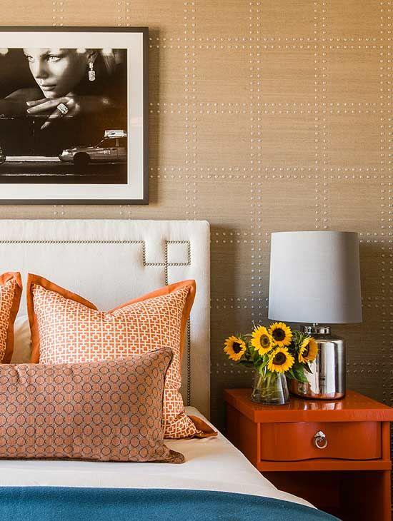 Colors Blue Orange Wallpaper And Headboard Terrat Elms