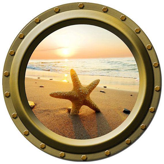 Starfish Sunrise Porthole Vinyl Wall Decal by WilsonGraphics, $14.00