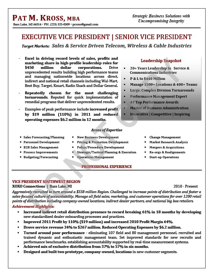 Best Resume Samples Images On   Executive Resume