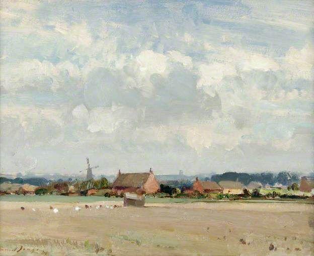 A Stubble Field near Ludham, Norfolk by Edward Brian Seago