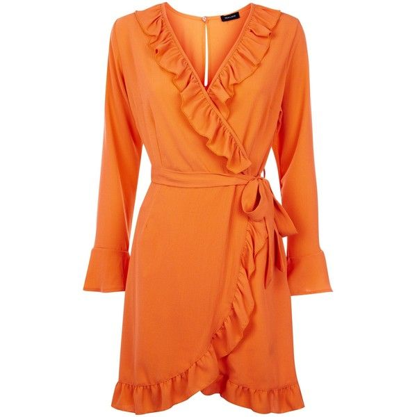 Bright Orange Frill Trim Wrap Front Dress ($35) ❤ liked on Polyvore featuring dresses, orange dresses, bright coloured dresses, bright dress, wrap front dress and bright colored dresses