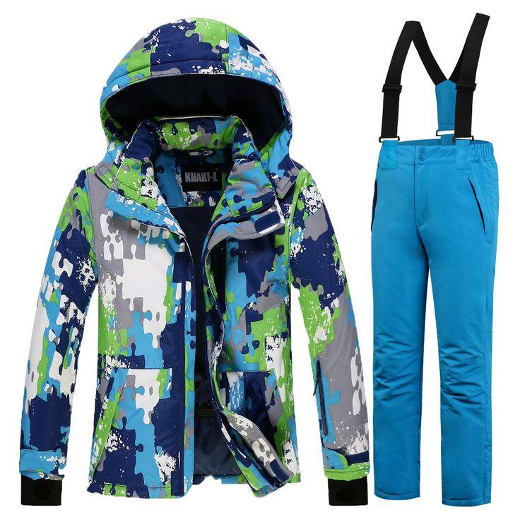 Waterproof Boys or Girls Ski Suit  Kids Ski Jacket Ski Pants Windproof Snow  Jacket -30 Degree KL-7082