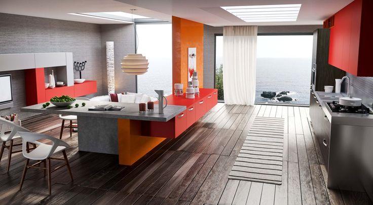 una panoramica sulla cucina AREZZO dove la  parete divisoria tra cucina e living spicca nel suo colore arancio