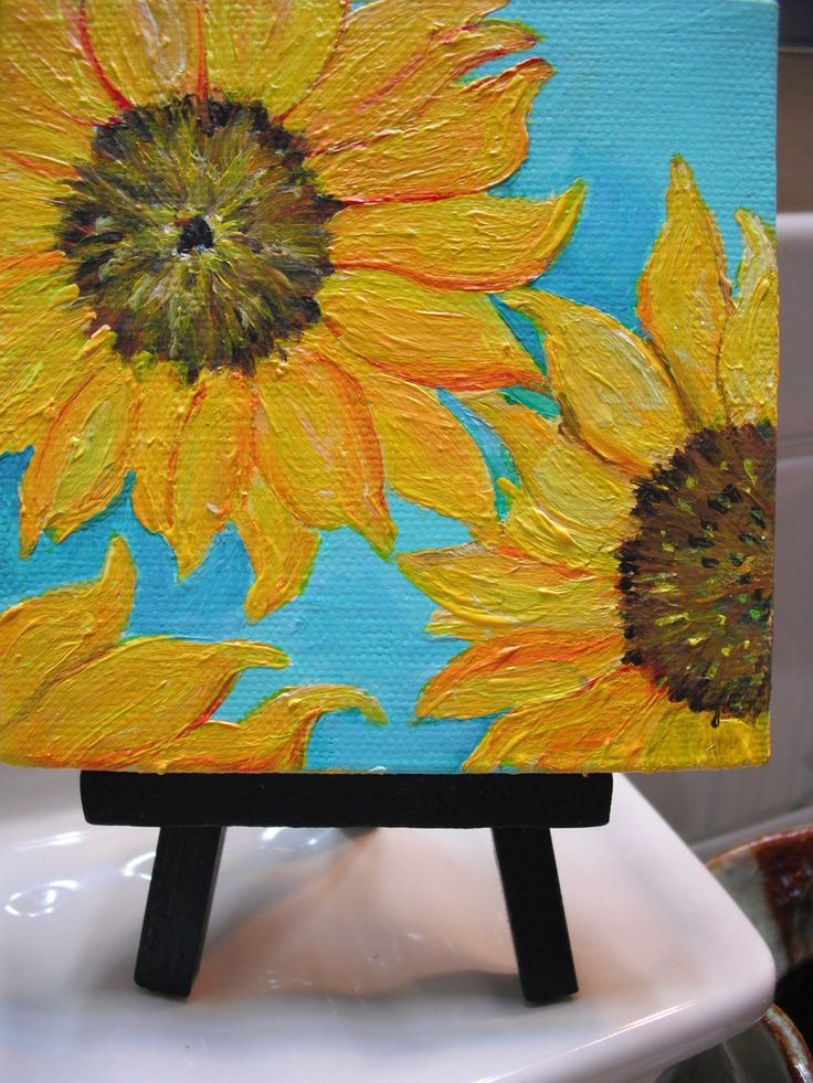 Sunflowers on turquoise Original mini painting on Canvas with Easel, $25.0