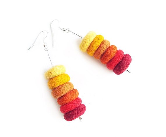Felted earrings felt earrings multicolor felt by MarlenaRakoczy