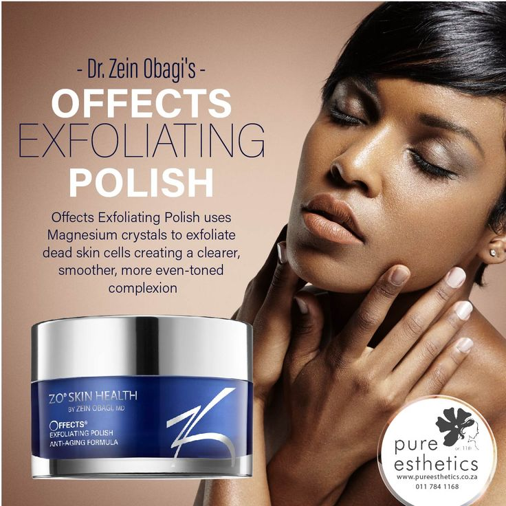 Dr. Zein Obagi's OFFECTS EXFOLIATING POLISH Offects Exfoliating Polish uses Magnesium crystals to exfoliate dead skin cells creating a clearer, smoother, more even-toned complexion #ZOMagnesium
