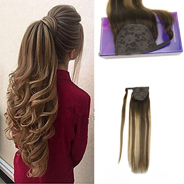 Ponytail Straight Human Hair Extension Ombre Balayage Dark Brown