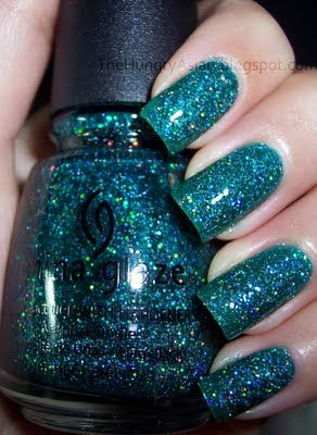 China Glaze Atlantis Nails.  This is a stunning color.  If you love glitter you will love this!
