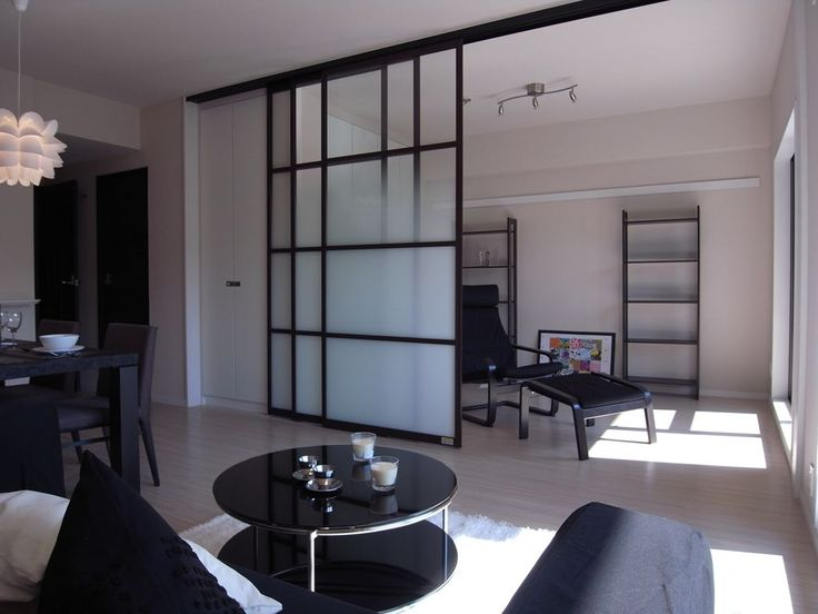 large glassed sliding doors....  Living room to office