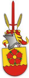 SV-93 Mats Blom, Norrköping  Sköld: I guld en röd fembladig blomma med gul blombotten och gröna foderblad över en av en femvågig skura bildad röd stam.     Hjälmtäcke: Rött fodrat med guld.     Hjälmprydnad: Ett rött svärd mellan två sädesax av guld.