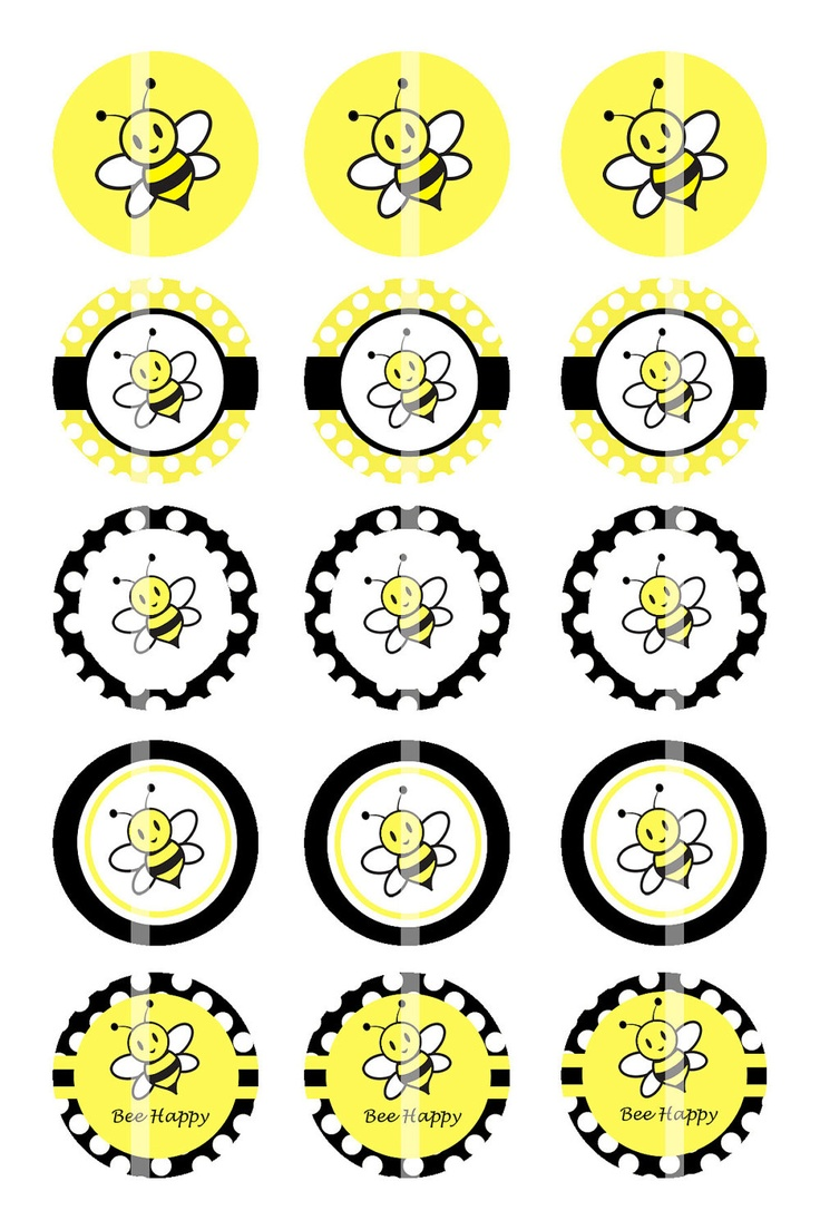 Bees - Digital Collage Sheet - 1 Inch Digital Bottle Cap Images - BUY 2 GET 1 FREE. $1.75, via Etsy.