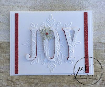 handmade Christmas card from The Serene Stamper: Large Letters Eclipse Card Tutorial ... stacked die cut letters spell JOY ... white with splashes of red ...