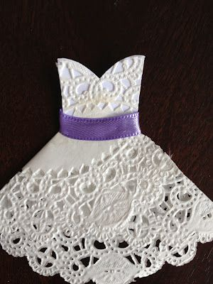 Quiet and Colorful: DIY Doily Wedding Dresses--perfect for bridal shower invites!
