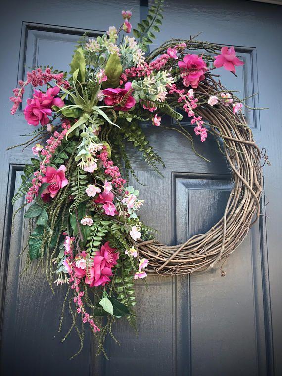 Spring Wreaths Spring Door Wreaths Gift for Her Floral Wreath Pink Blue Wreath Pink Wreaths Door Decor Spring Pink and Blue Wreaths