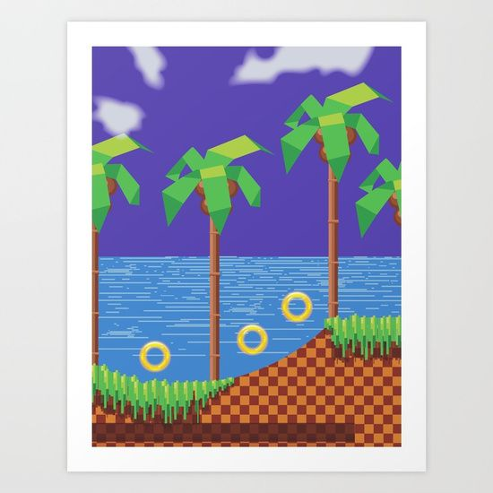 Retro Video game or computer game with palms and rings.