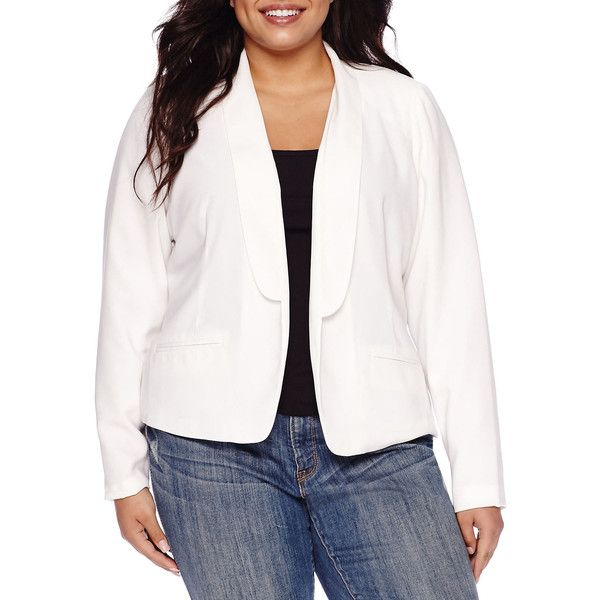 Decree Blazer - Plus, White (Size: 1x) - Womens > Blazers >... ($18) ❤ liked on Polyvore featuring plus size women's fashion, plus size clothing, plus size outerwear, plus size jackets, plus size blazers, plus size, white jacket, plus size white blazer, white blazer jacket and women's plus size blazers