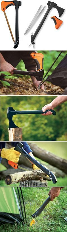 Woodsman 4-in-1 Tool. It chops, saws, pounds and pulls. An Axe, Bow Saw, Mallet and Stake Puller @thistookmymoney