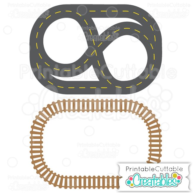"Pack 'n"" Go Racetrack & Train Tracks Free Silhouette Cutting File & SVG"