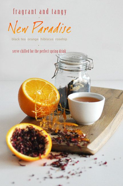 New Paradise Flavored Black Tea ; A citrus flavoured black tea with notes of sweet caramel finished with taste of cranberry. Best enjoyed with white chocolate desserts or sticky date pudding! By KettleTown on Etsy, $10.00
