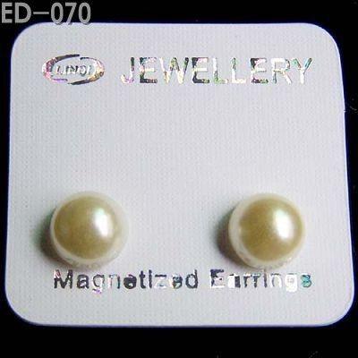 BOLLETJE PARELMOER -magnetische oorbellen